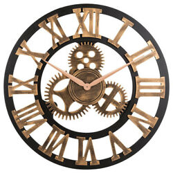Silent Gear Wall Clock Large 3D Retro Decorative Circular Art Roman Home 12 Inch