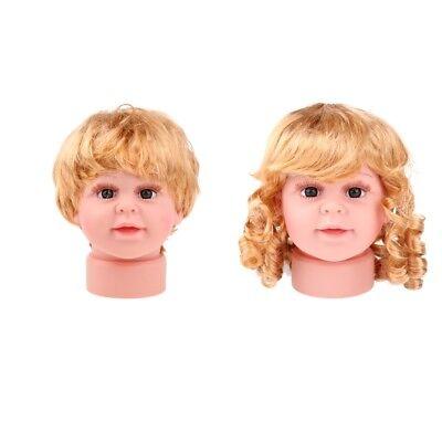 2pcs Baby Girl Boy Mannequin Manikin Head Wig Kid Glasses Hat Display S