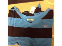 Ladies/girls Hollister top, navy and turquoise stripe, size small