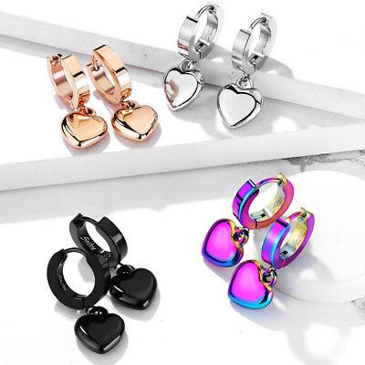 Heart Hoop Pierced Earrings - 2pc HEART Dangle Huggie Women Men Hoop Earring EAR Lobe Cartilage Helix Piercing
