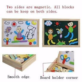 Double Side Wooden Magnetic Board Shape Puzzle Jigsaw Drawing Board Game for Kids
