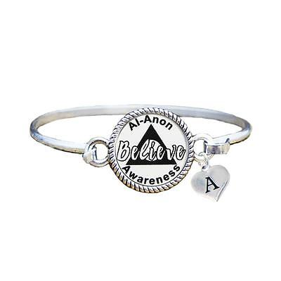 Custom Al-Anon Believe Silver Bangle Bracelet Jewelry Choose Initial Family - Als Bracelet