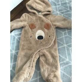 NEXT bear pramsuit 6/9 months