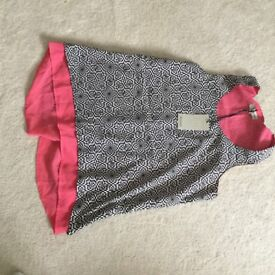 Ladies Anmol top in pink and black/white pattern in size 12. Never been worn