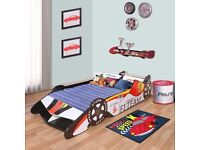Toddler Race car Themed Bed, Formula 1 Car Design with Rear Wing, Front Wing and Supportive Bed
