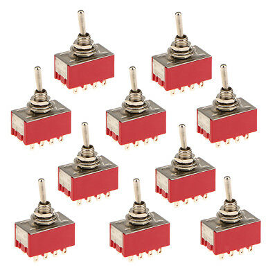 10x Onon Mini 4pdt Toggle Switch Round Handle 12 Pin Red