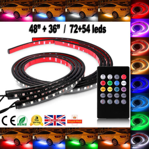 "7 Color Under Car Tube 48"" 36"" Led Underglow Underbody Neon Strip Light Kit 12w 0"