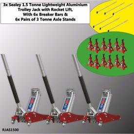 3x Sealey RJAS1500 Trolley Jack 1.5 ton Aluminium Rocket + 6x 3 Ton Axle Stands + 6x Breaker Bar