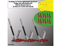 3x Sealey RJAS1500 Trolley Jack 1.5 ton Aluminium Rocket + 6x 3 Ton Axle Stands + 6x Breaker Bar