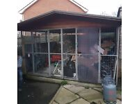Roofed galvanised Double dog run