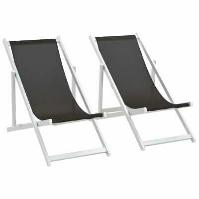 vidaXL 2x Sillas de Playa Plegables Aluminio Textilene Negro Asiento Taburete