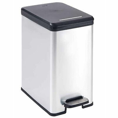 Curver Deco Slim Pedal Bin 25L Silver Rubbish Dustbin Trash Can Container