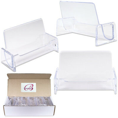 12 pcs Clear Acrylic Desktop office Business Card Holders Display Stand plastic (Business Card Display Holders)