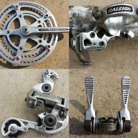 VINTAGE RALEIGH SR CHAINSET / FRONT AND DERAILLEURS / LEVERS