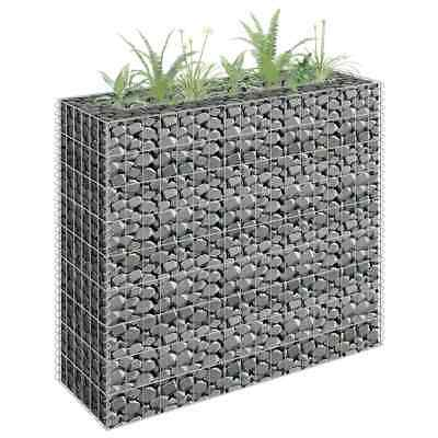 vidaXL Gabion Raised Bed Galvanised Steel 90x30x90cm Garden Fencing Wire Patio