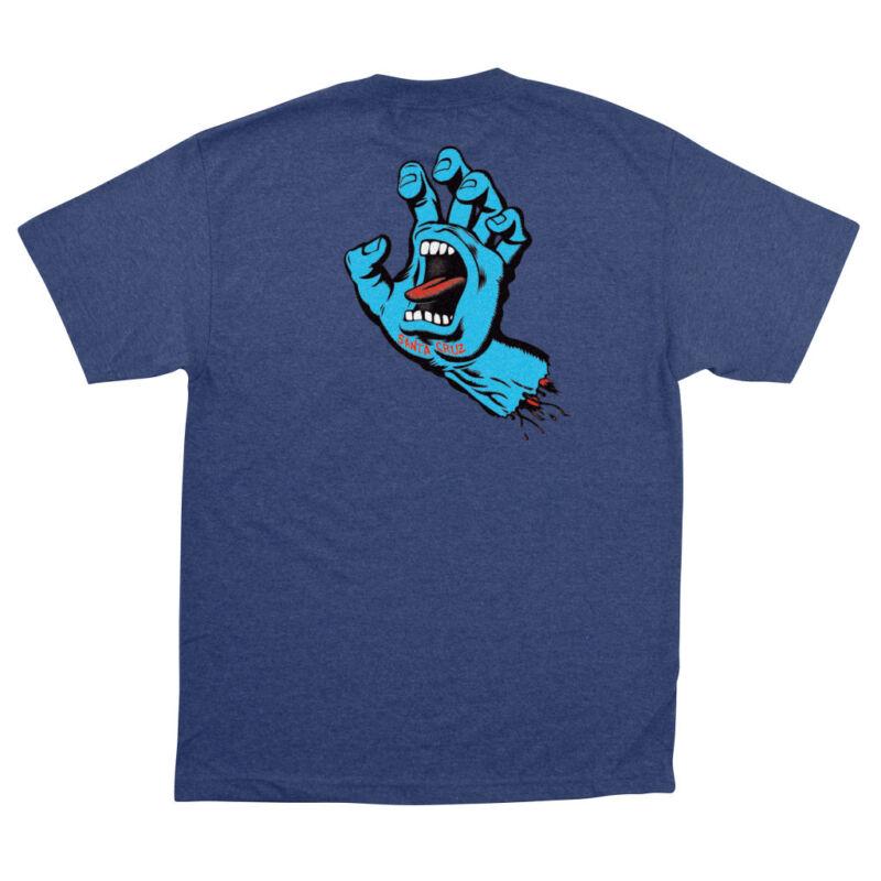 Santa Cruz SCREAMING HAND Skateboard T Shirt DENIM HEATHER LARGE