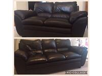 2 Harveys Cortona Brown Leather Sofas, 3 & 2 Seater - £300