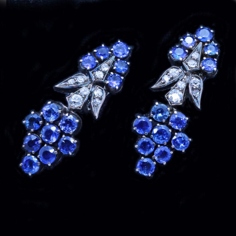 Antique Earrings Sapphire Diamond Ear Pendants Silver 14k Gold w Appraisal (6364