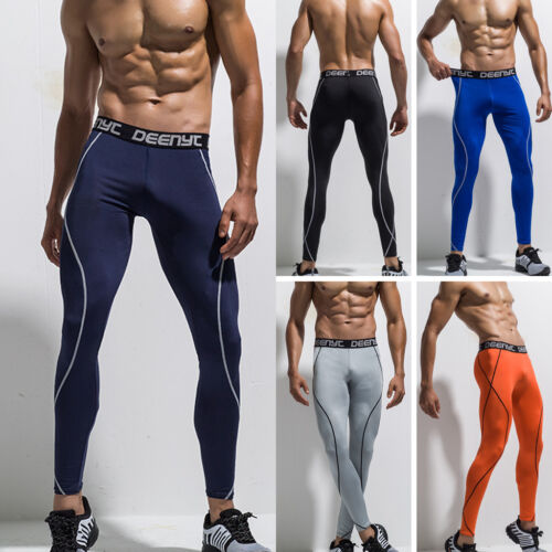 Mens Compression Solid Base Layer T Shirt Athletic Thermal Sports Pants Leggings