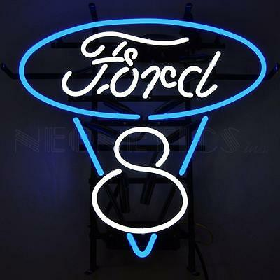 Ford V8 Blue And White Neon Sign Blue & White 5FV8BW  w/ FREE Shipping