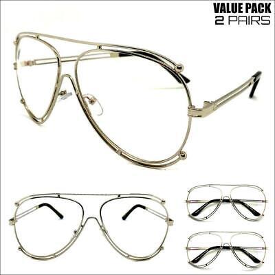 2 Pairs CLASSIC VINTAGE RETRO Style Clear Lens EYE GLASSES Silver Fashion (Hip Hop Sunglasses Wholesale)