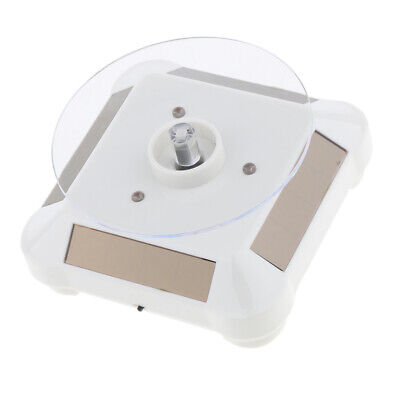 Solar Powered Jewelry Watch Rotating Display Stand Turntables W Led - White
