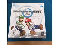 Wii Mario Kart Game and Steering Wheel