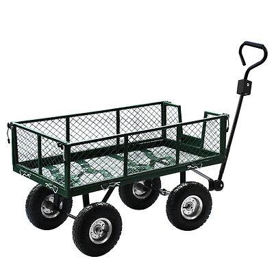 Heavy Duty Wheelbarrow Steel Wagon Utility Garden Cart Yard Lawn Dump Flat Dolly