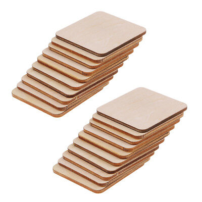 20pc Wooden Wood Square Shapes Plaque Unfinished Coasters DIY Pyrography Art