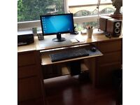 computer desk, 2x 3 draw units and chair