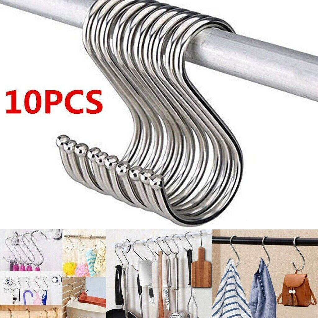 Details About 10x Stainless Steel S Shape Shower Curtain Ring Hook For Kitchen Bathroom Hanger