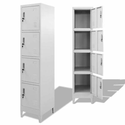 Metal Locker Cabinet W 4 Compartments Wardrobe Office Gym Storage Organizer