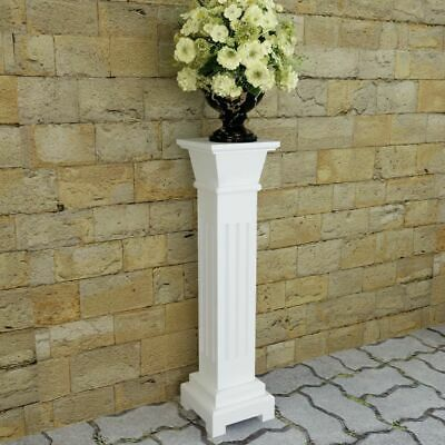 Classic Square Pillar Plant Stand MDF Outdoor Display Shelf Pot Unit White 66 cm