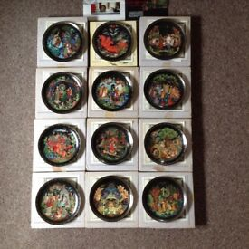Russian folk legend decorative plates, set of 12 complete with certificates and boxed