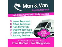 Man & Van Removals Short Notice