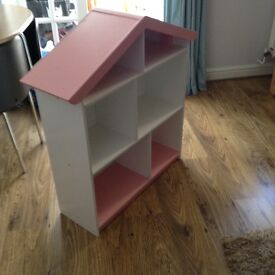 Pink and white bookcase