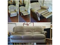 tan italian leather 3 seater sofa and rocking/swivel/fully reclining armchair suite