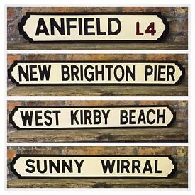 SOLID TIMBER, HAND MADE, HAND PAINTED, STREET SIGNS, CHOOSE YOUR OWN WORDS, FREE DELIVERY