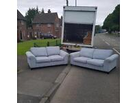 DFS 3&2 seater sofa in an off blue coloured fabric £245 spotless clean!