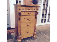 KEEN PINE ORIGINAL - Antique Pine Chest of Drawers - Unusual storage bedroom lounge - *Delivery*