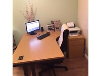 Desk 1600 Radial with Chair and under desk pedestal £90