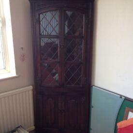 Old Charm dark oak Corner Cupboard and bookcase