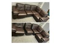Brown leather corner sofa comes in 4 pieces*can deliver