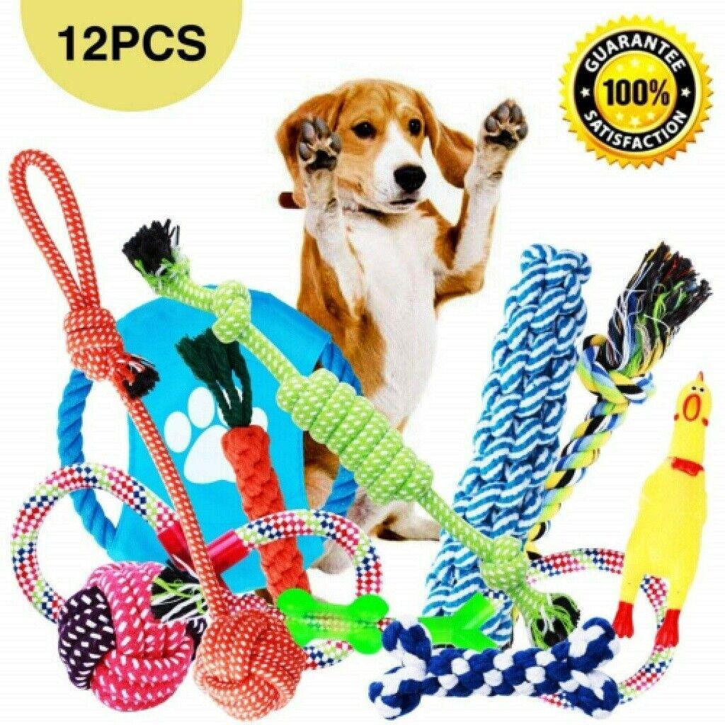 12er Set Hundespielzeug Kauspielzeug Haustier Zahnpflege Interaktives Spielzeug