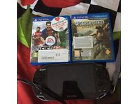 PS Vita with 4gb Memory Card and two games; Uncharted Golden Abyss and FIFA 13