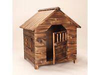 Dog Kennel Puppy Small Pet Home Sleep Outdoor Shelter Summer Play Dark Fir Wood