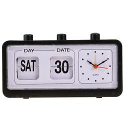 Retro Flip Down Clock Calendar Display Desktop Alarm Clock-Black