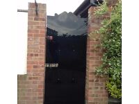 """SOLID 6'0"""" X 2'9"""" CAST IRON GATE WITH 5mm ACRYLIC SECURITY SCREEN."""