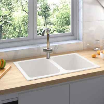 vidaXL Fregadero de Cocina Doble Seno con Rebosadero Granito Blanco Decoración
