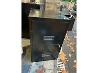 Black 2 drawer lockable filing cabinet